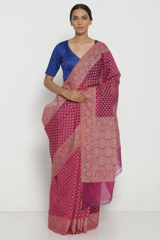 Purple Pure Silk Cotton Banarasi Saree with All Over Traditional Motifs and Woven Border