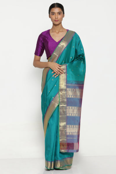 Via East blue green handloom pure silk kanjeevaram saree with all over zari motifs and rich zari border