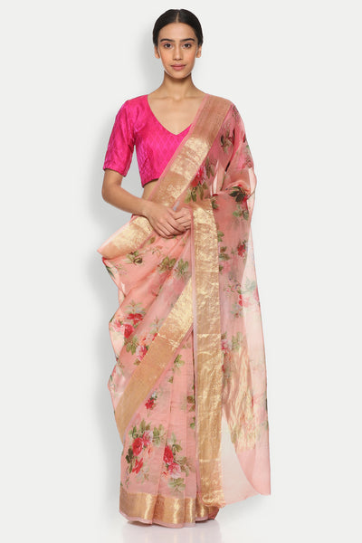 Via East copy of blush pink pure silk organza sheer saree with detailed woven zari border