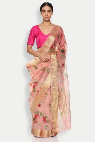 Blush Pink Pure Silk-Organza Sheer Saree with Detailed Woven Zari Border