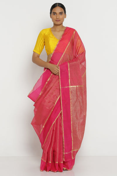 Via East deep pink handloom pure silk tissue chanderi saree with gold tissue border