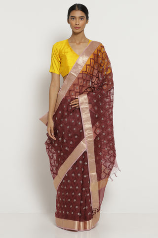 Berry Purple Handloom Pure Silk-Organza Saree with All Over Embroidery