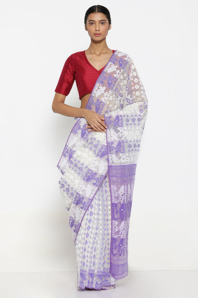 Via East white cotton dhakai jamdani saree with lavender self weave motif and traditional pallu