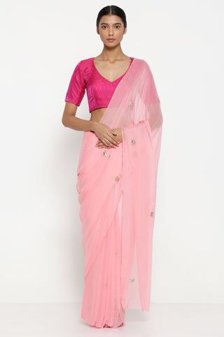 Pink Chiffon Saree with All Over Hand Embroidered Gota Patti Work and Striking Blouse