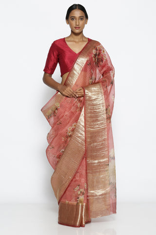 Rose Pink Pure Silk-Organza Saree with Floral Print Over Zari Checks