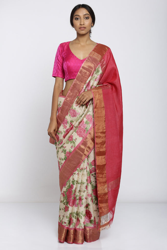 Beige Handloom Pure Tussar Silk Saree with Allover Digital Floral Print and Pink Pallu