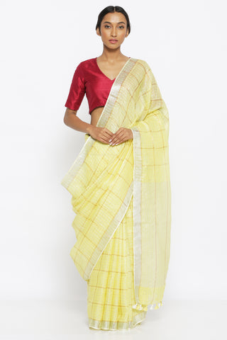 Lemon Yellow Pure Linen Saree with All Over Gold Zari Checked Pattern and Silver Zari Border
