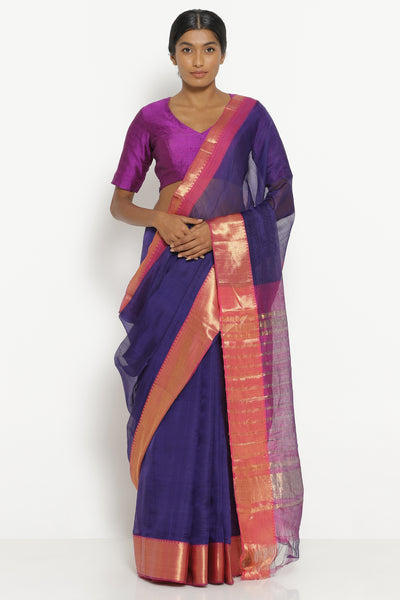 Via East purple handloom silk cotton mangalagiri saree with contrasting red border
