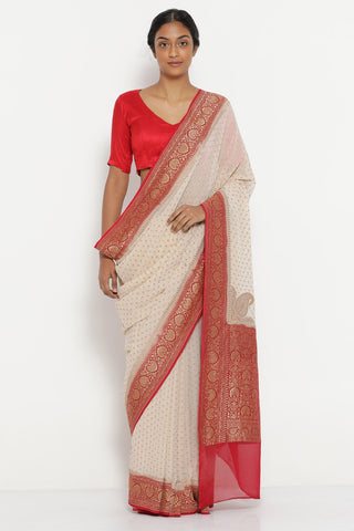 Cream Handloom Pure Silk-Georgette Banarasi Saree with Antique Gold Zari Detailing