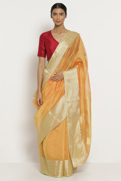 Via East sandalwood orange handloom silk cotton chanderi saree with silver gold border