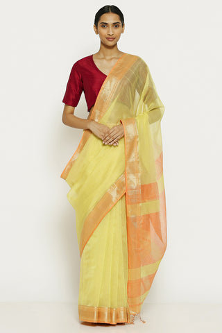 Sunflower Yellow Handloom Pure Silk Cotton Mangalagiri Saree with All Over Striped Pattern