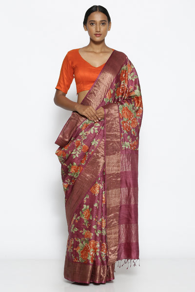 Via East purple pure tussar silk handloom saree with all over floral print