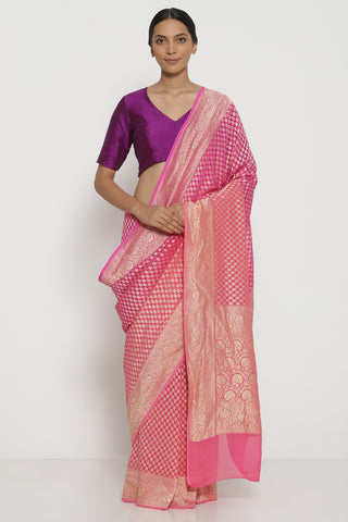 Fuscia Pink Handloom Pure Silk-Georgette Banarasi Saree with with Ombre Effect