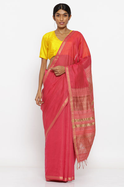 Via East coral handloom pure tussar cotton saree with allover zari striped pattern and woven pallu