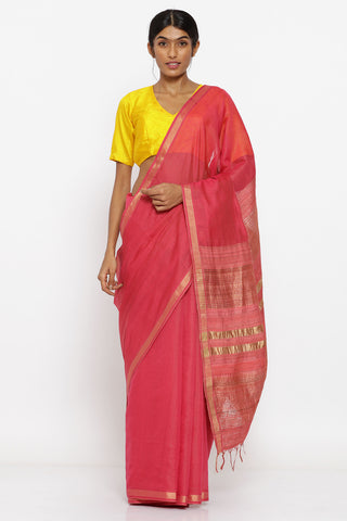 Coral Handloom Pure Silk-Cotton Saree with Allover Zari Striped Pattern and Woven Pallu