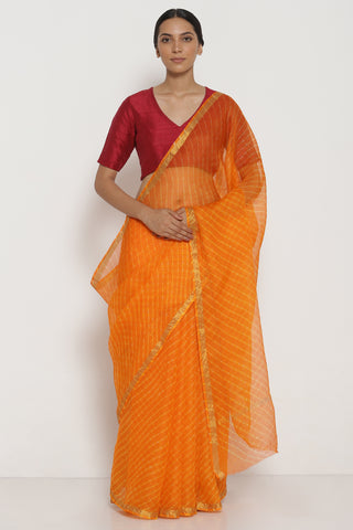 Orange Pure Silk Kota Saree with Traditional Leheriya Pattern