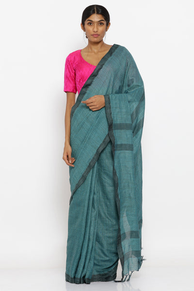 Via East blue handloom pure cotton saree with allover chevron pattern and woven pallu