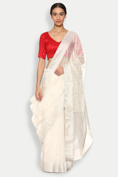Via East copy of lunar white handloom silk cotton chanderi saree with all over silver zari motifs