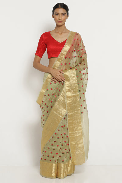 Via East leaf green handloom pure silk organza saree with all over floral embroidery