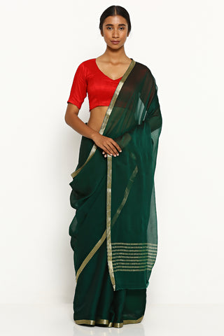 Bottle Green Pure Wrinkled Chiffon Saree with Woven Gold Zari Border