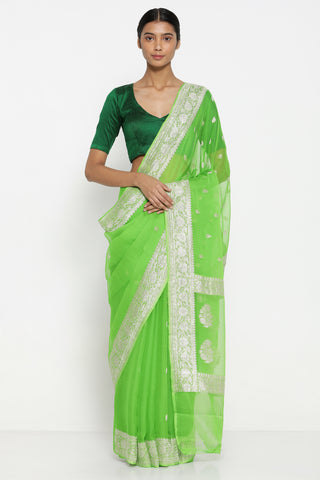 Bright Green Pure Silk-Georgette Banarasi Sheer Saree with All Over Silver Zari Motifs and Rich Border