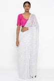 White Pure Linen Saree with All Over Checked Pattern