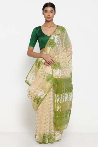 Beige Cotton Dhakai Jamdani Saree with Green and White Self Weave Motif and Traditional Pallu