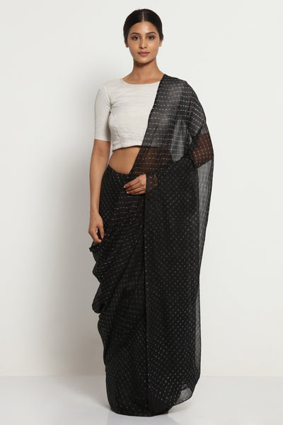 Via East black pure chiffon saree with traditional leheriya print