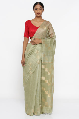 Sage Green Handloom Pure Matka Silk Saree with All Over Geometric Zari Motif and Sheer Woven Pallu