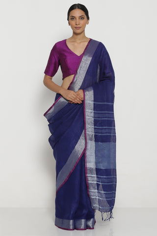 Indigo Pure Linen Saree with Silver Zari Border and Woven Pallu
