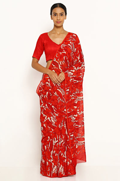 Via East white pure wrinkled chiffon saree with all over red floral print
