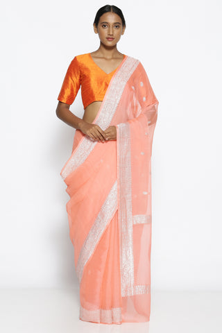 Pale Peach Pure Georgette Banarasi Saree with Intricate Silver Zari Border