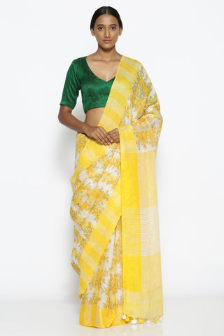 White and Yellow Pure Linen Saree with All Over Floral Print