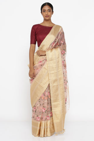 Blush Pink Pure Silk-Organza Saree with All Over Embroidered Floral Jaal and Detailed Border