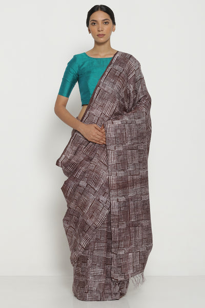 Via East brown handloom pure matka silk saree with all over striped and checked pattern