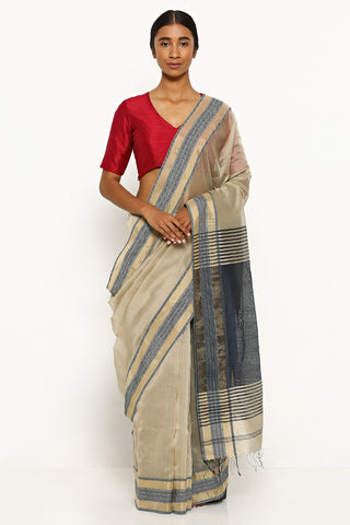 Beige Handloom Silk Cotton Maheshwari Saree with Intricate Zari Border