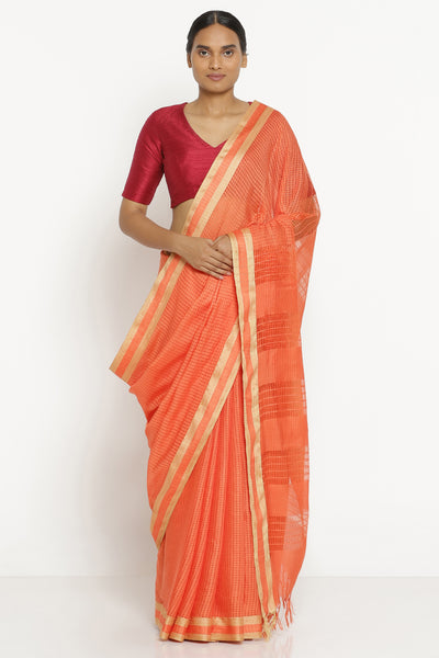 Via East orange handloom pure cotton kota saree with all over checked pattern