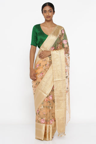 Peach Pure Silk-Organza Saree with All Over Embroidered Floral Jaal and Detailed Border