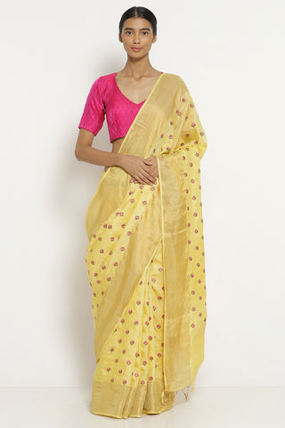 Light Yellow Handloom Pure Tussar Silk Saree with All Over Floral Embroidery