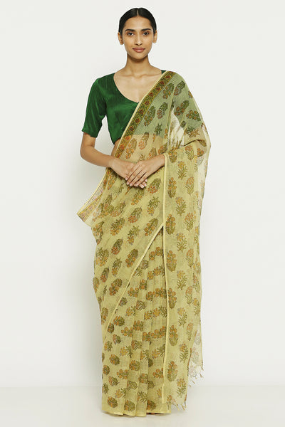 Via East pale yellow handloom pure kota cotton saree with traditional sanganeri print