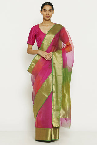 Pink Handloom Pure Silk Chanderi Saree with Ombre Effect and Gold Zari Border
