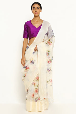 Ivory White Pure Kota Silk Saree with All Over Floral Print