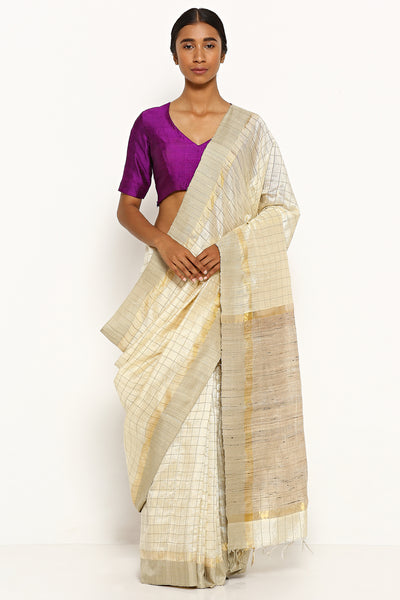 Via East ivory handloom pure tussar silk saree with all over gold zari checks