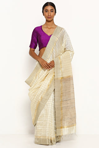 Ivory Handloom Pure Tussar Silk Saree with All Over Gold Zari Checks