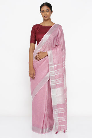 Rose Pink Pure Linen Saree with Silver Zari Border and Woven Pallu