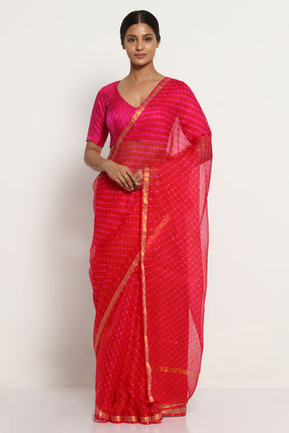 Red Pink Pure Silk Kota Saree with Traditional Leheriya Print and Gold Zari Border