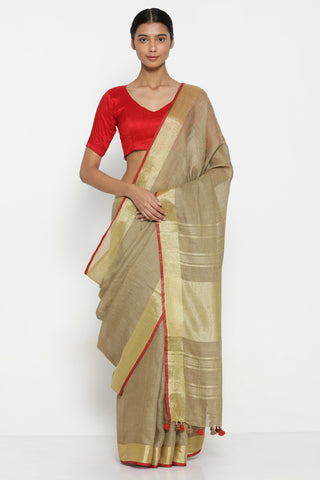 Light Brown Handloom Pure Linen Saree with Striking Gold Tissue Border
