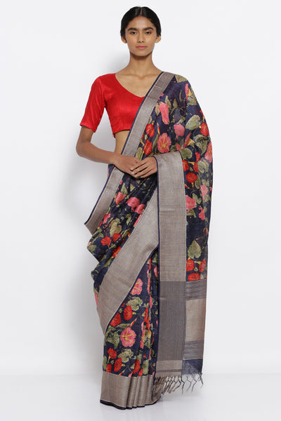 Via East midnight blue pure matka silk saree with all over floral prints and intricate floral border