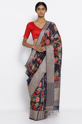 Midnight Blue Handloom Pure Matka Silk Saree with All Over Floral Print and Intricate Floral Border