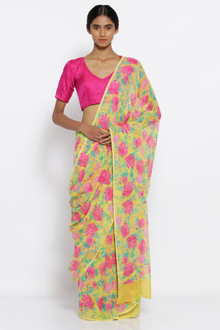 Yellow Chiffon Saree with All Over Vintage Floral Print